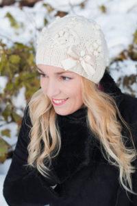 kootud müts snowdrop naturaalvalge